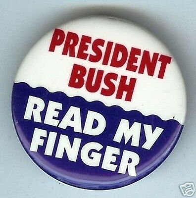 Pres BUSH READ My Finger Michael DUKAKIS 1988 pin