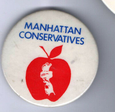 old pin MANHATTAN CONSERVATIVES Big apple torch freedom