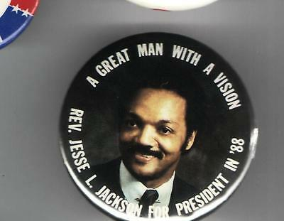 JESSE JACKSON 1988 pin button pinback Man Vision
