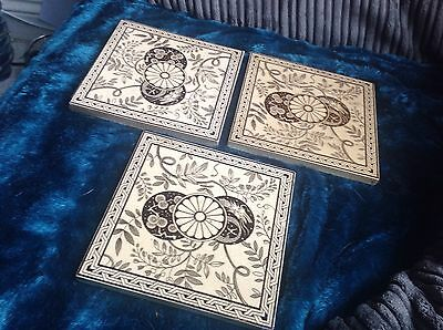Vintage.Minton  Aesthetic Design With Dragons Tiles X 3