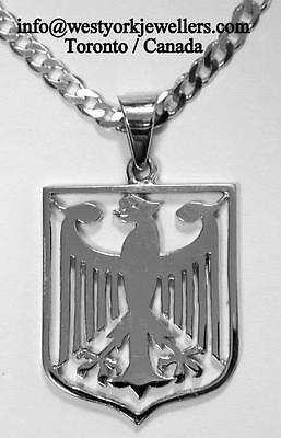 GERMAN EAGLE PENDANT & Chain in  Sterling Silver Shield Type World Cup Soccer
