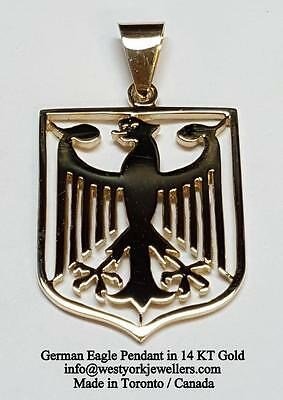 GERMAN EAGLE PENDANT 14 KT GOLD  Shield Type Germany World Cup Soccer Champions