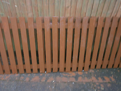 2 stained rustic picket style fence panels