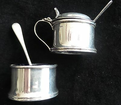 Antique Sterling Silver Mustard Pot With Sterling Silver Salt Cellar Two Spoons