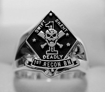 United States Marine Corps USMC 1st Recon Ring in Sterling Silver