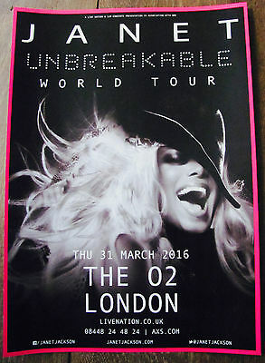 Janet Jackson Unbreakable World Tour 2016 London A4 Poster