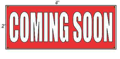 2x4 COMING SOON Red with White Copy Banner Sign NEW