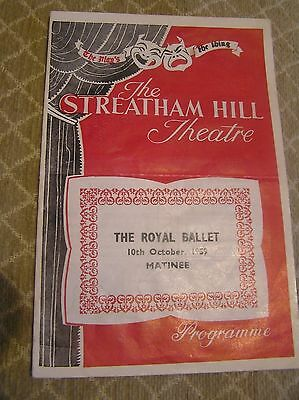 STREATHAM HILL THEATRE PROGRAMME 10th OCT 1959 ROYAL BALLET SWAN LAKE FONTEYN