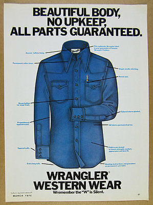 1975 Wrangler Western Wear Shirt features illustration art vintage print Ad