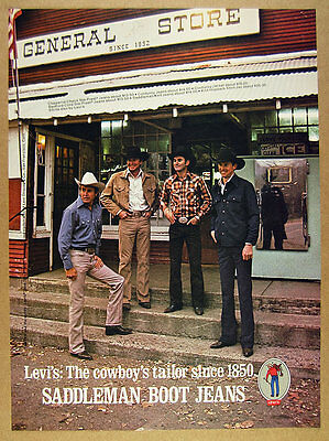 1975 Levi's Saddleman Boot Jeans general store cowboys photo vintage print Ad