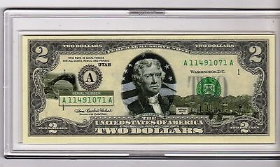 Utah $2 Two Dollar Bill - Colorized State Landmark - Uncirculated Authentic