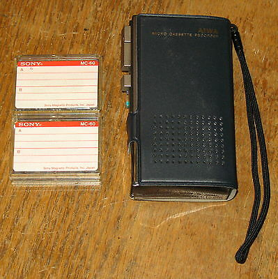 AIWA TP-M9 Micro Cassette MicroCassete Recorder Dictation Machine Case and Tapes