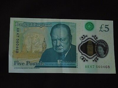 New Polymer £5 Note With Ak47 Serial Number - Genuine Circulated Note