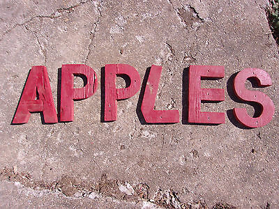 "Vintage Old Red Paint Weathered Wood Letter Lot ""APPLES"" Kitchen Decor"
