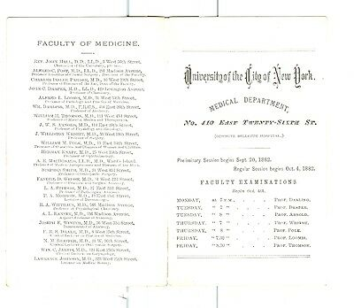 1883 University of New York City Medical School Class Schedule