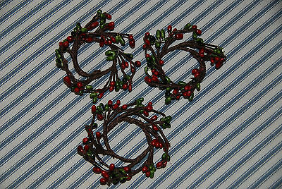 Set of 3 Miniature Christmas Wreaths -- Christmas Holiday Decorations