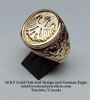 German Eagle Ring 14 Kt Gold with Oakleafs on Sides Germany World Cup Champions
