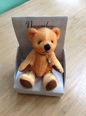 Miniature Teddy Bear Vintage Russ Bear Of The Month November Topaz Birthday Gift
