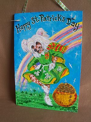 HP hairless Chinese Crested St. Patrick's Day SIGN painting hand painted dog ART