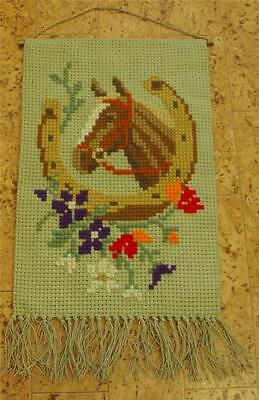 Swedish vintage wool cross-stitched sampler with horse's head and horse shoe