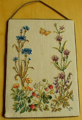Swedish hand-cross-stitched linen picture w wild flowers and wild strawberries