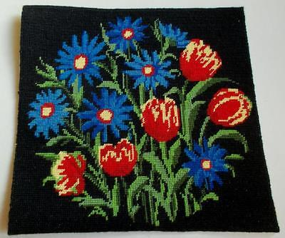 Swedish needlepoint hand-embroidered  sampler, blue flowers and tulips on black