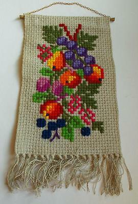 Swedish wool-cross-stitched sampler, colorful apples, grapes and flowers, hanger