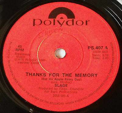 Slade-Very Rare South Africa Only 45-Thanks For The Memory-7 Single