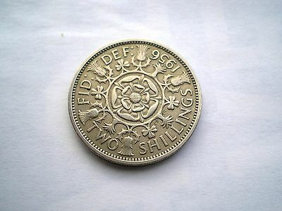 Early Elizabeth 11-2 Shilling Coin From The Uk-Dated-1956 Nice