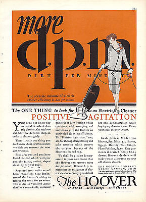 1928 HOOVER Positive Agitation ELECTRIC CLEANER Vacuum AD