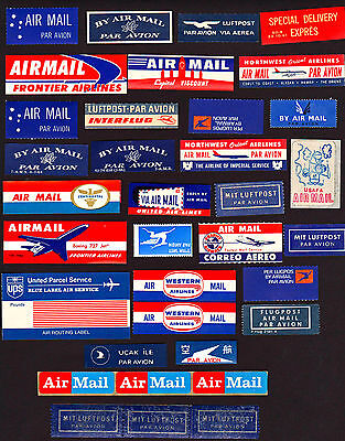 BONUS COLLECTION of 83 WORLDWIDE Airmail Labels                **FREE SHIPPING**