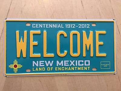 """Mint New Mexico Turquoise Centennial  Sample  License Plate """" Welcome """" Nm"""