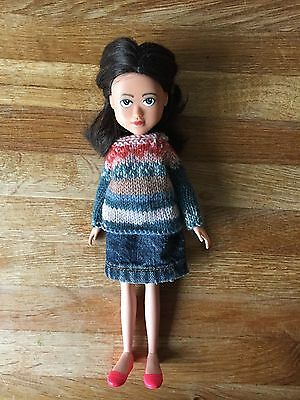 Upcycled doll, repainted face, hand knitted fair isle jumper, denim skirt