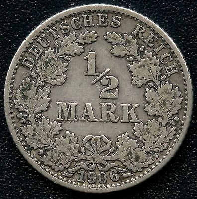 1906 'G' Germany 1/2 Mark Silver Coin (2.777 Grams .803 Silver)