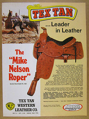 1975 Tex Tan MIKE NELSON ROPER Horse Saddle rodeo photo vintage print Ad