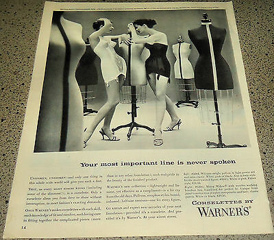 1956 Warner's Corsolette White & Merry Widow Bra Girdle Vintage Lingerie AD