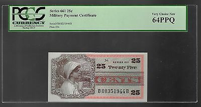 Series 661 Military Payment Certificate 25 Cents  PCGS 64 PPQ UNC