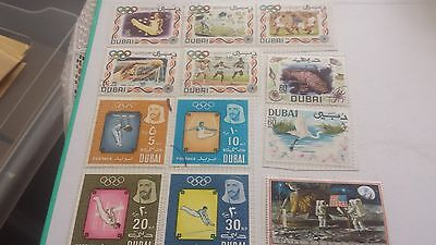 12 DUBAI  STAMPS, 1960s 1970s, 9 OLYMPIC STAMPS.