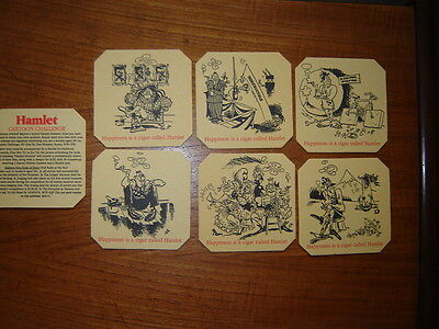 6  VINTAGE  HAMLET  CIGARS ' Happiness is a cigar '  BEER  MATS / COASTERS   NEW