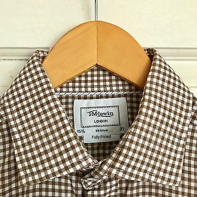 T.M. Lewin fully fitted brown & white gingham check shirt (15.5)