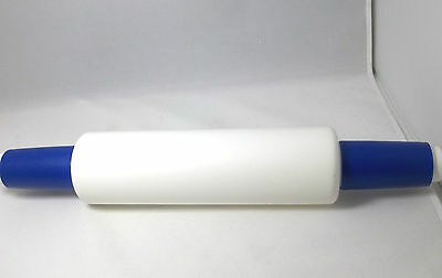 Tupperware Rolling Pin, White With Dark Blue Ends,white Cap To Add Water
