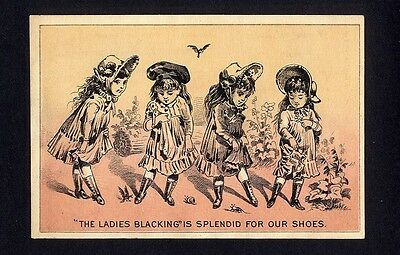 LADIES BLACKING for SHOES Victorian Trade Card 1880's Little Girls Admiring Feet