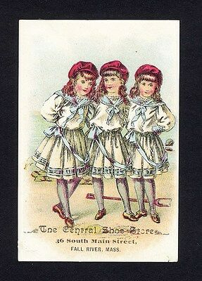 CENTRAL SHOE STORE Fall River Massachusetts Victorian Girls Trade Card 1880's