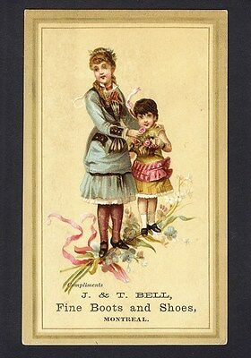 MONTREAL CANADA & PEMBROKE ONTARIO Boots Shoes Victorian Trade Card 1880s GIRLS