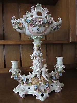 German Porcelain Table Centre-Piece Compote Flower Encrusted Putti Goddess A/F