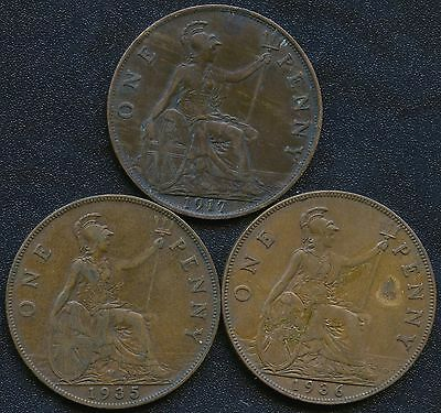 1917 1935 & 1936 Great Britain 1 Penny Coins