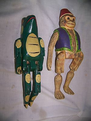 """2 Hinged Wood Carved Animals: Monkey w/turban & vest, Frog with personality 11"""""""