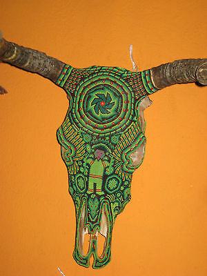 Outstanding Huichol Indian Mexican Folk Art Hand Beaded and Signed Bull Skull