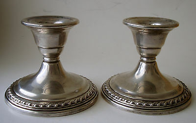 "Pair Vintage La Pierre Sterling Silver Candle Holders, Candlesticks, 3"" Tall"