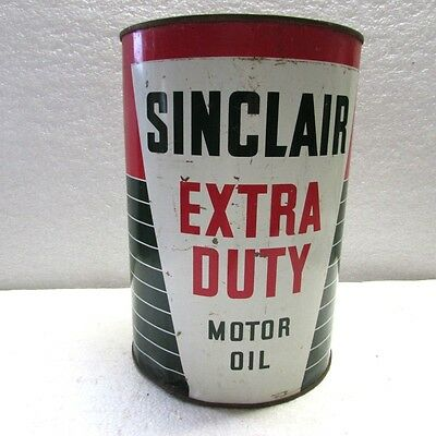 Sinclair Extra Duty Motor Oil 5 Quart Oil Can Dated 1938
